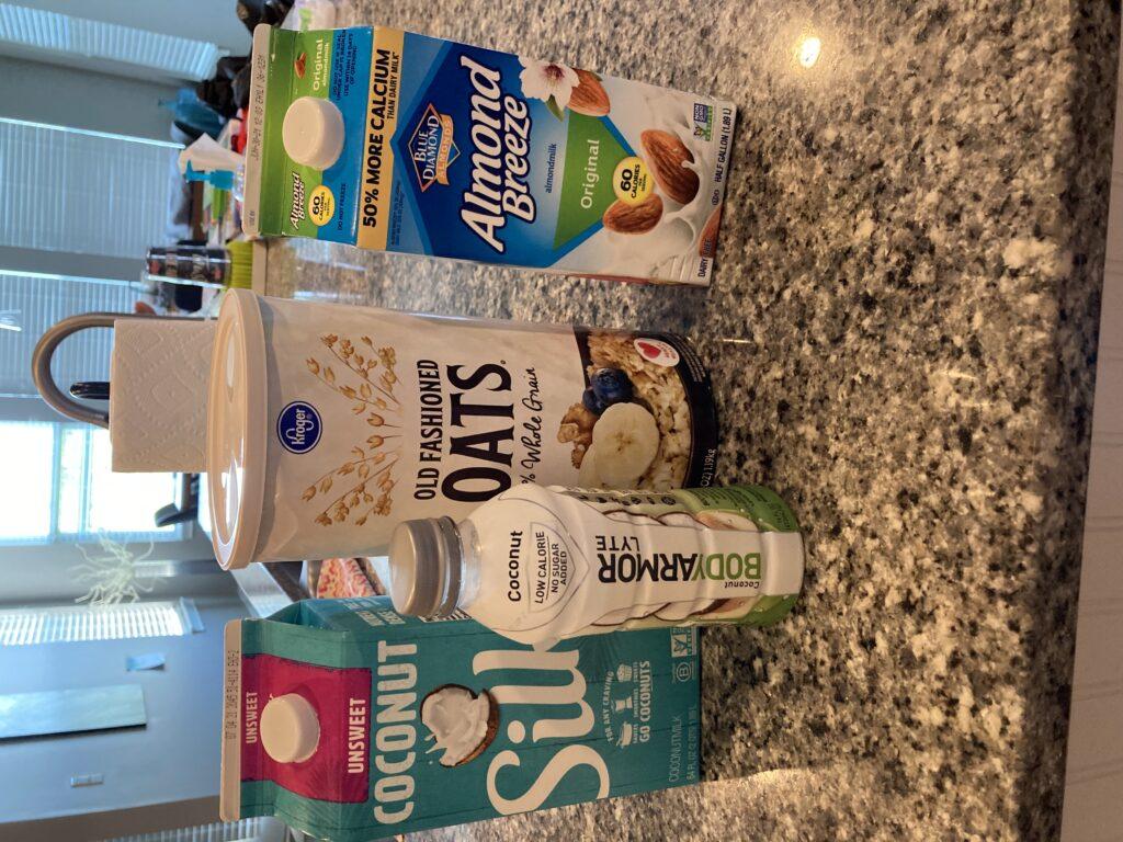 Almond milk, coconut milk, Body Armor, and Oats